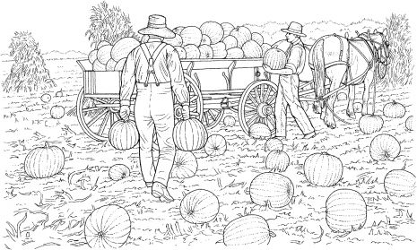 Advanced Coloring Pages of Houses | Farmers Gather the Harvest from ...