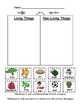Living and NonLiving Things (PDF) Kindergarten science