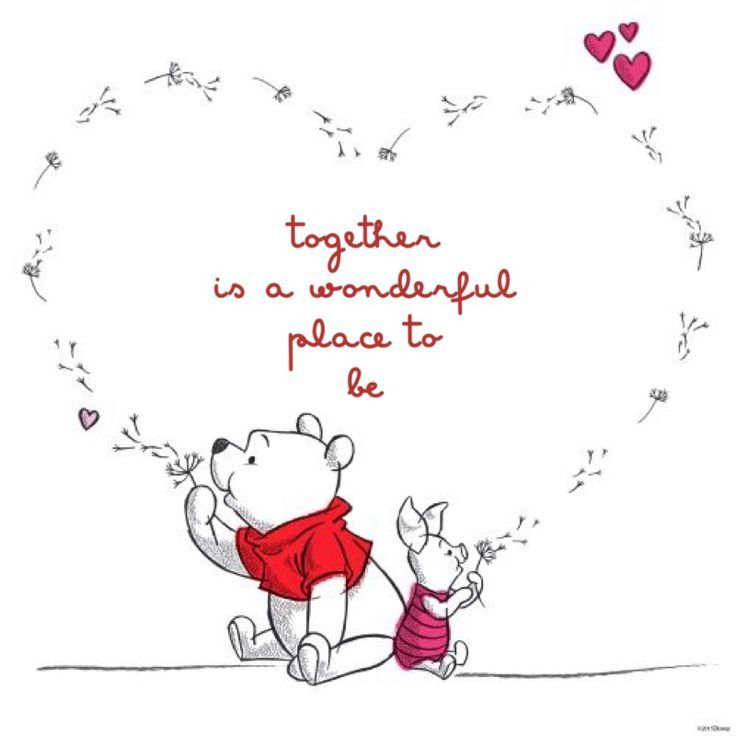 Winnie the Pooh love and life quote in a heart shape with piglet. Together is a wonderful place to be.