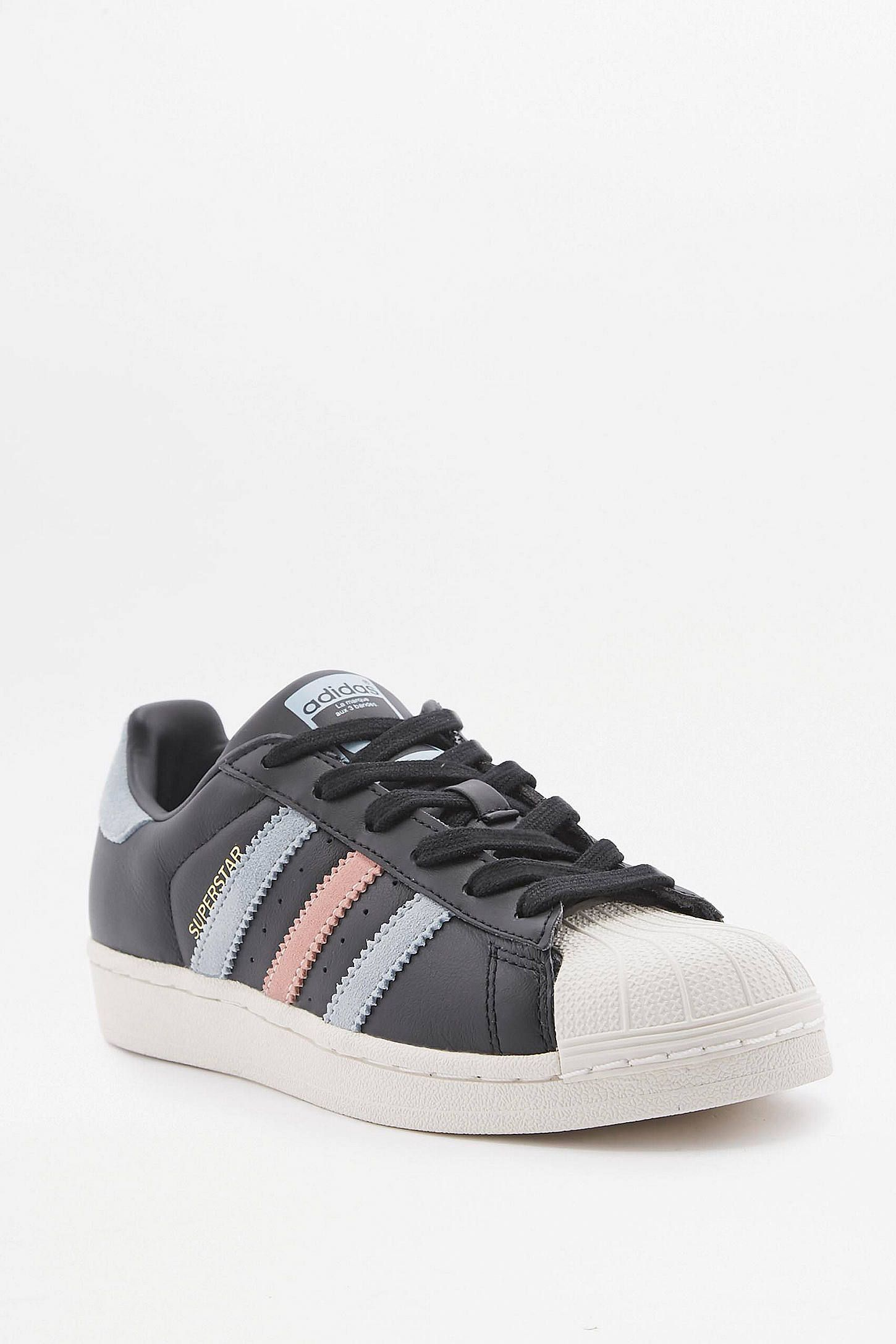 dc6e7fea503a Slide View  2  adidas Originals Superstar Black With Blue And Pink Stripes  Trainers