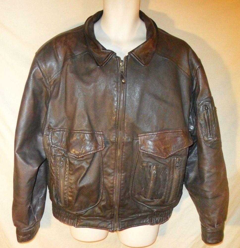 Vintage 90 S Synergy Unique Brown Leather Bomber Style Jacket Aviator Coat Xl Synergy Flightbomber [ 1000 x 969 Pixel ]