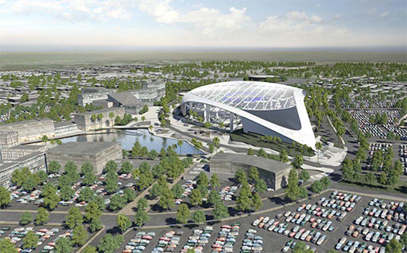 Nfl Media Hq Lands At Kroenke S Hollywood Park Stadium Entertainment District Los Angeles Rams Entertainment District Football Stadiums