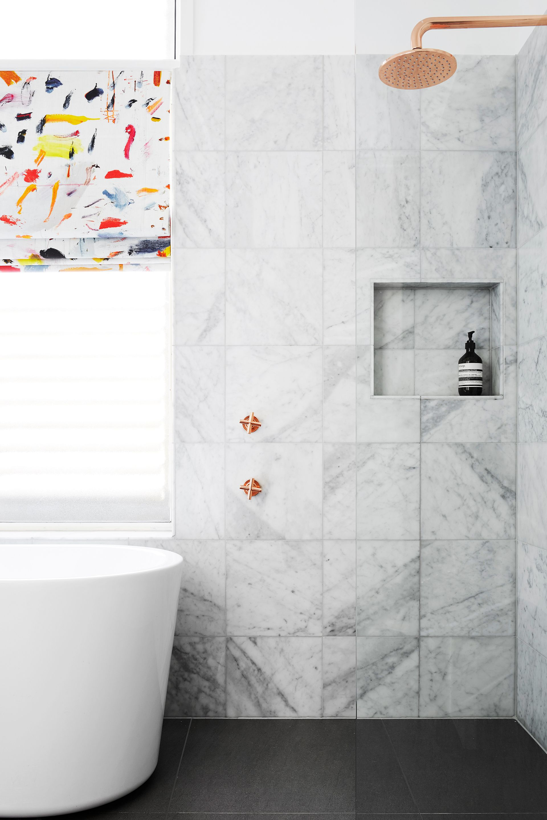 Bathroom Makeovers Newcastle luxe coper & marble bathroom makeover. photography: alexander