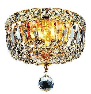 Antique Gold Flush Mount Crystal Chandelier Light Vintage Ceiling