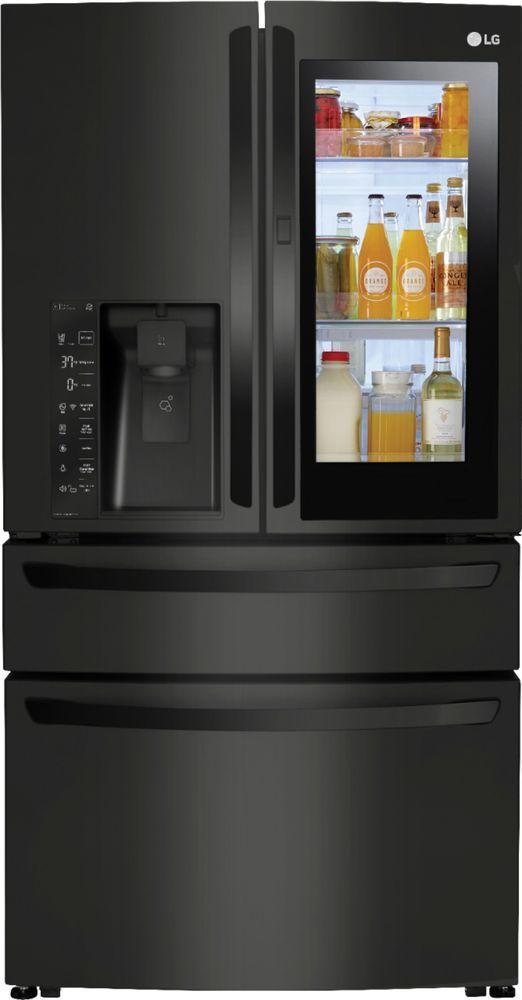 Lg 22 5 Cu Ft French Instaview Door In Door Counter Depth 4 Door Refrigerator With Wifi Matte Black Stainless Steel Lmxc23796m Best Buy Black Refrigerator Cabinet Depth Refrigerator Counter Depth