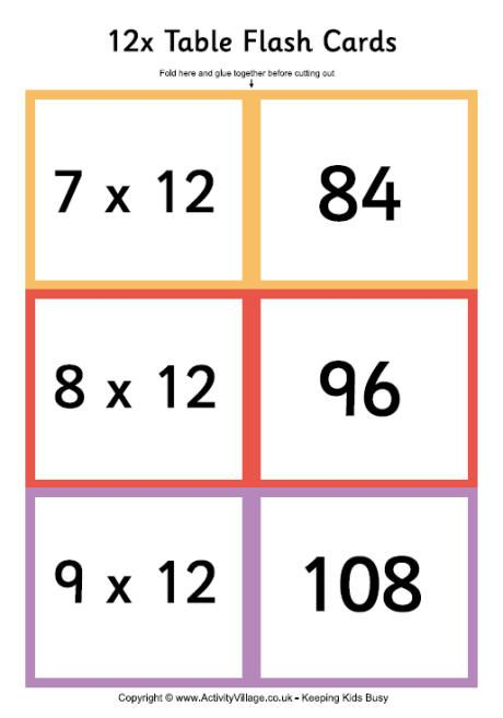 12 times table folding flash cards 5 6 math