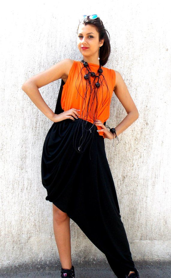 7bba21c2a9 Asymmetrical Extravagant Black Jumpsuit   Jumpsuit with Wood Necklace and  Bracelet   Asymmetrical Bl