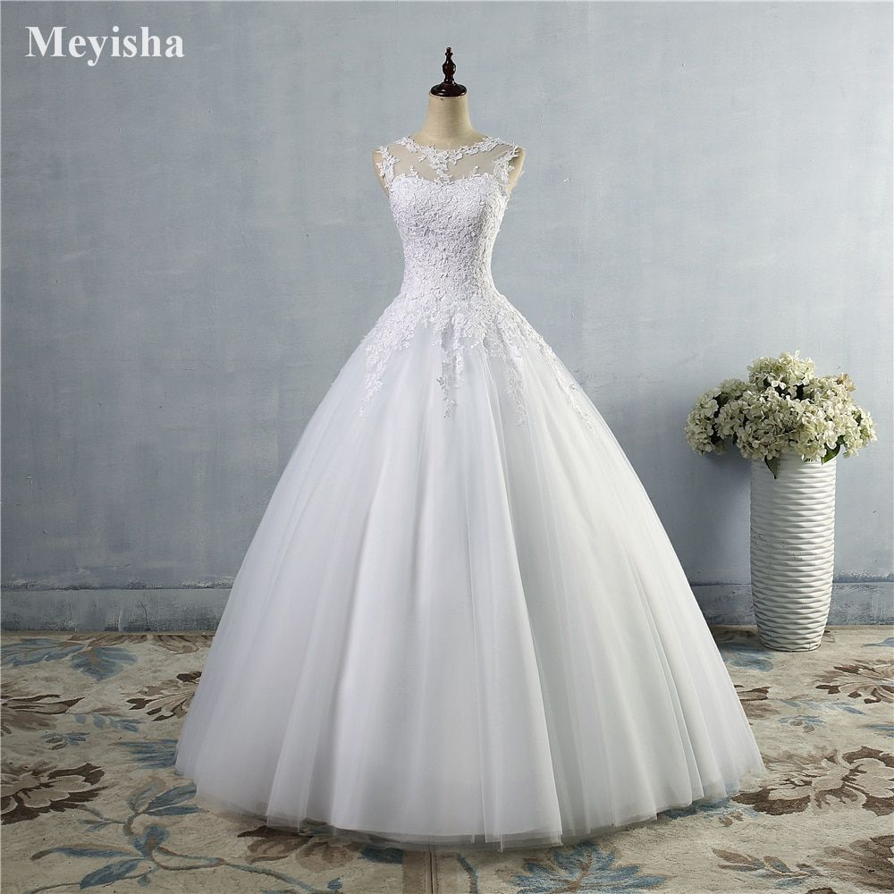 ZJ16 16 lace White Ivory A-Line Wedding Dresses for bride