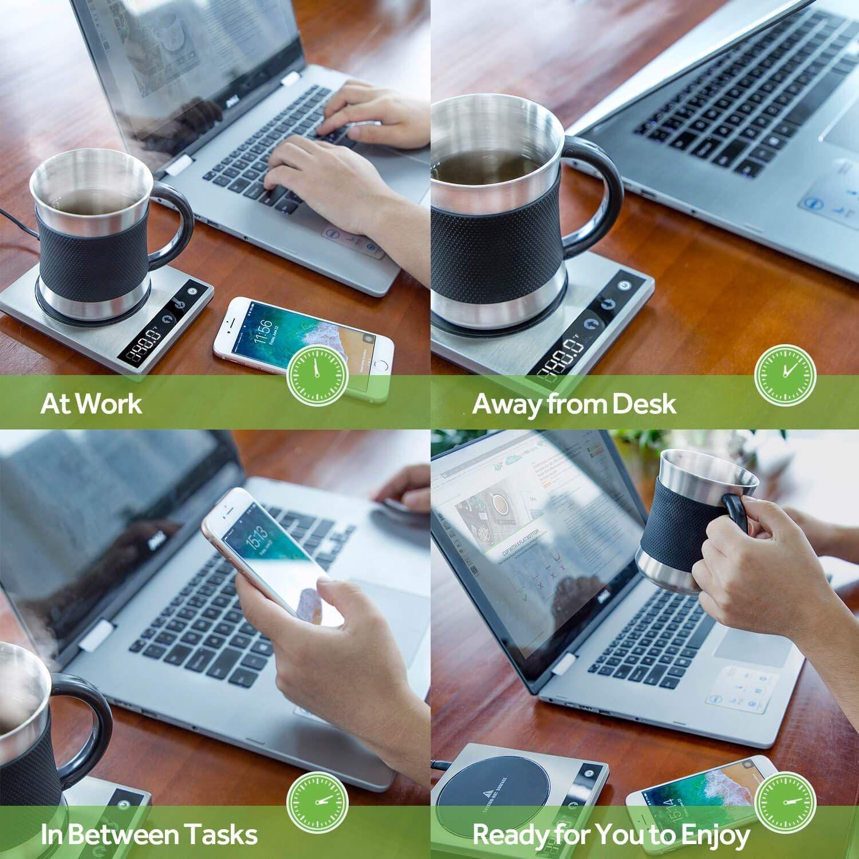 Cosori Coffee Mug Warmer & Mug Set Premium 24Watt Stainless Steel, Best Gift Idea, OfficeHome Use Electric Cup BeveragePlate,Water,Cocoa,Milk