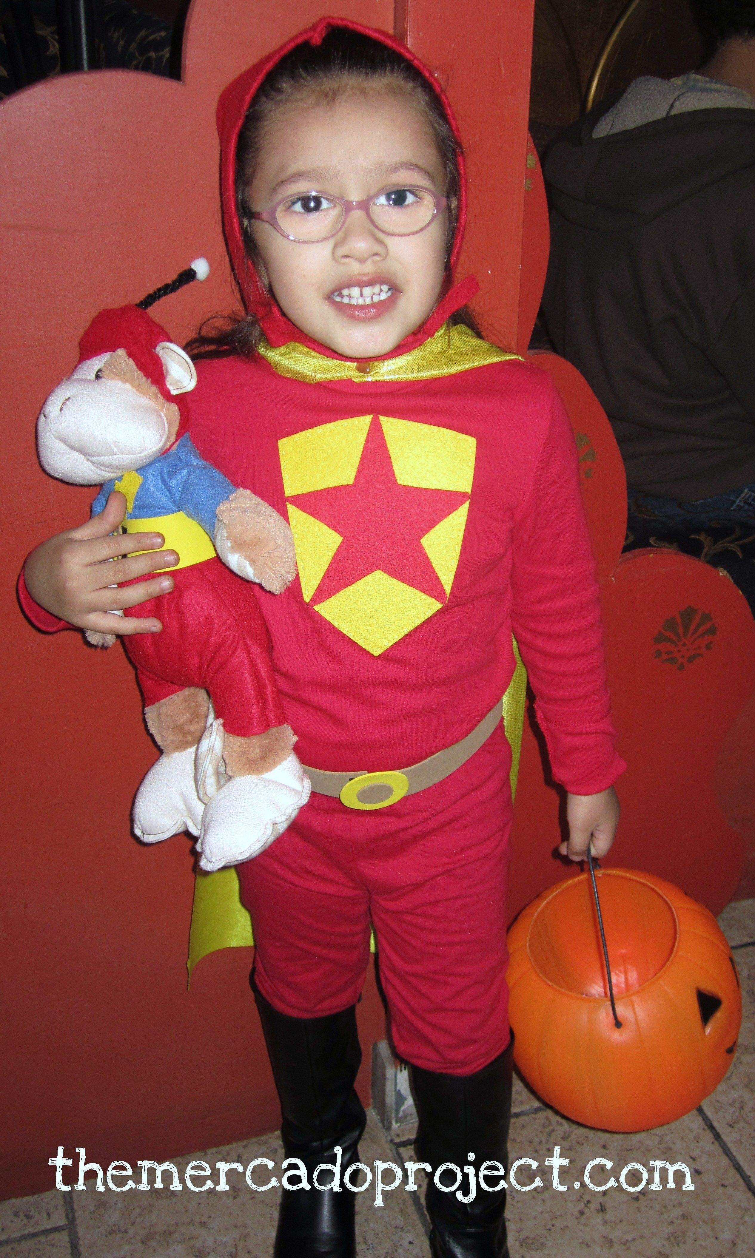 diy word girl and captain huggy face costume halloween 2011