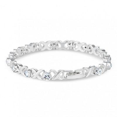 Jon Richard Polished Silver Cross And Crystal Link Bracelet At