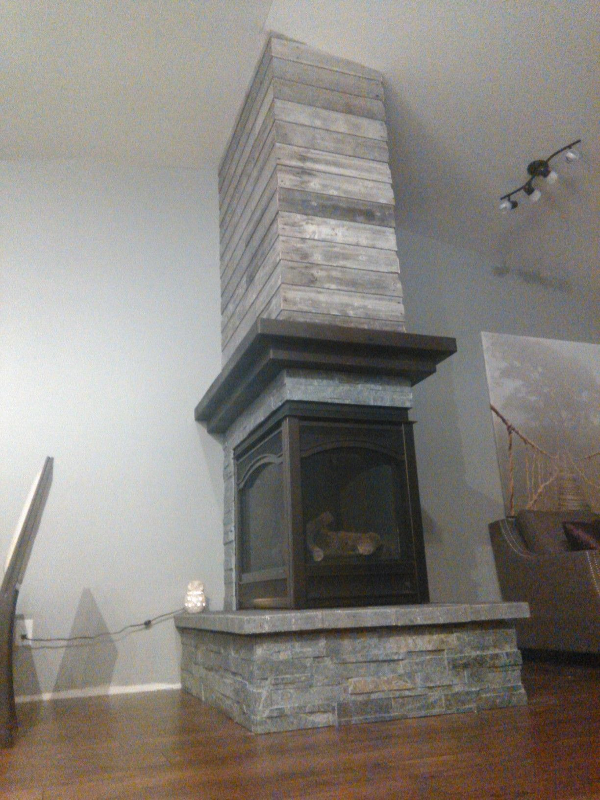 3 Sided Fireplace Barn Board Home Decor In 2019 3