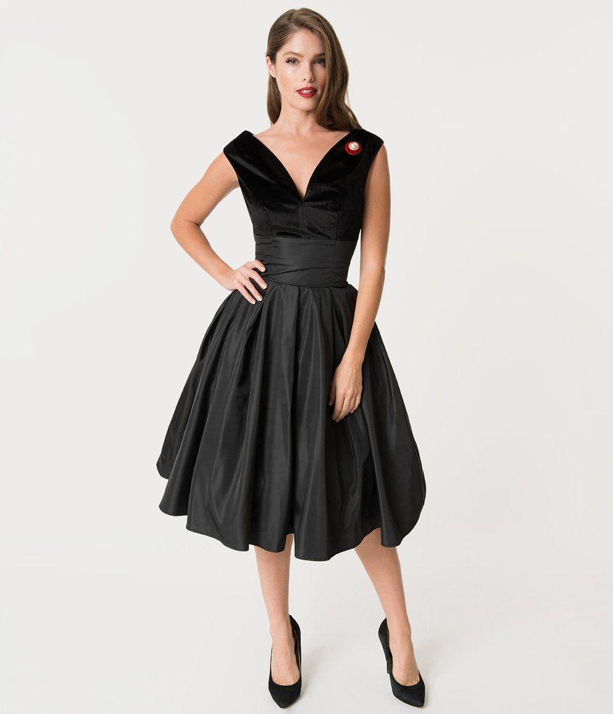 Unique Vintage 1950s Style Black Velvet & Taffeta Evie