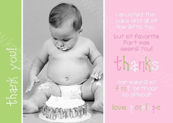 thank you card wording  baby first birthday kids
