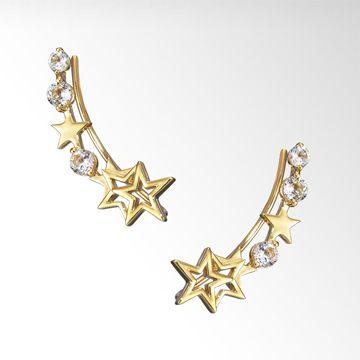 STAR JEWELRY |WHITE TOPAZ STAR PIERCED EARRINGS: ピアス