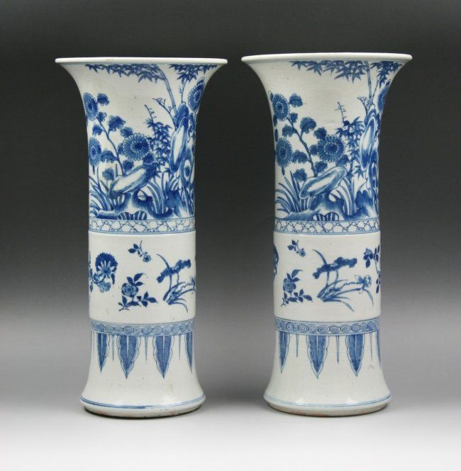 pair blue & white chinese vase | 152: Pair Chinese Qing Blue & White Porcelain Vases : Lot 152