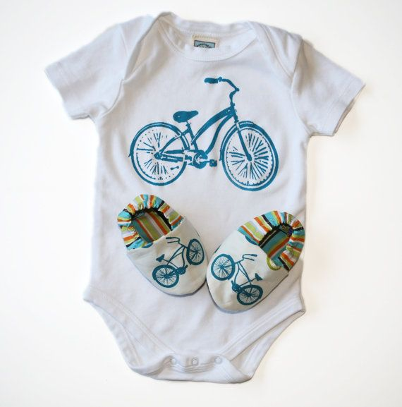 6eb2d9287 Bicycle Baby Gift Set- Organic Cruiser Bike Shoes and Organic Bodysuit - 0  3 6 12 18 months Eco Friendly Baby Clothing
