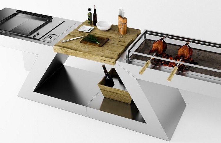 meuble kitchenette intérieur / extérieur avec plancha et rôtissoire ...
