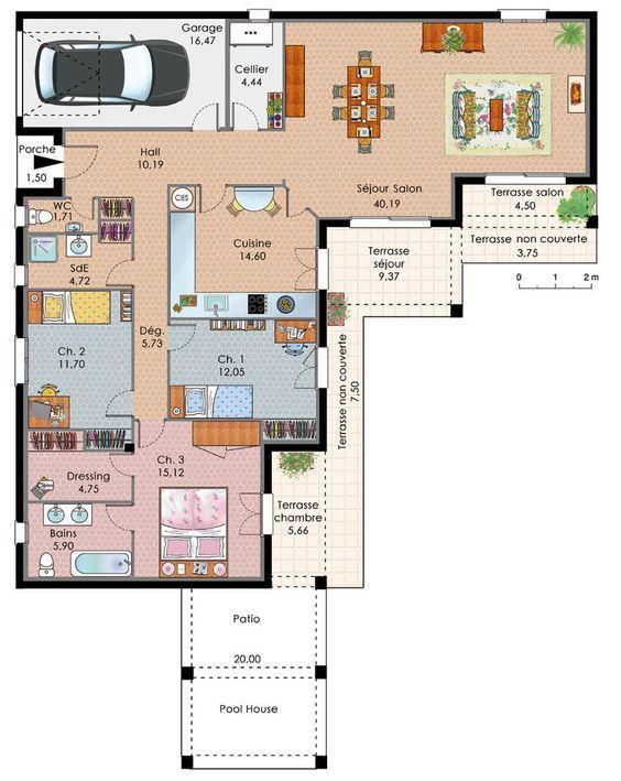 Maison de plain-pied avec trois chambres Construction, House and - plan maison une chambre