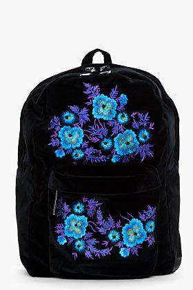 98796835747 Christopher Kane Blue Floral Embroided Velvet Backpack for women ...