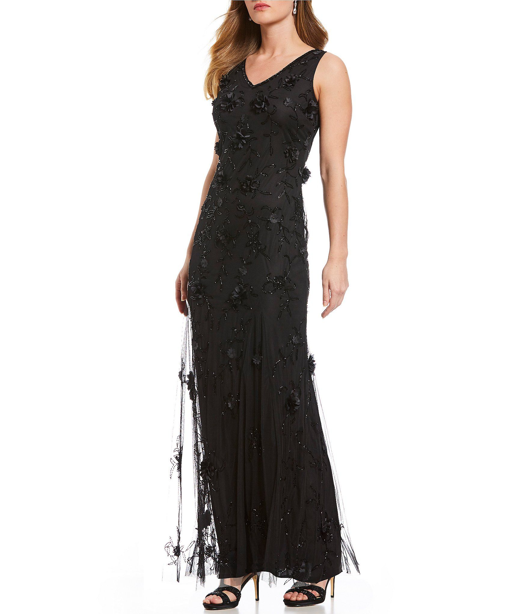 dad289b5c0c Pisarro Nights Long V Neck Gown with 3D Flower Embroidery  Dillards ...