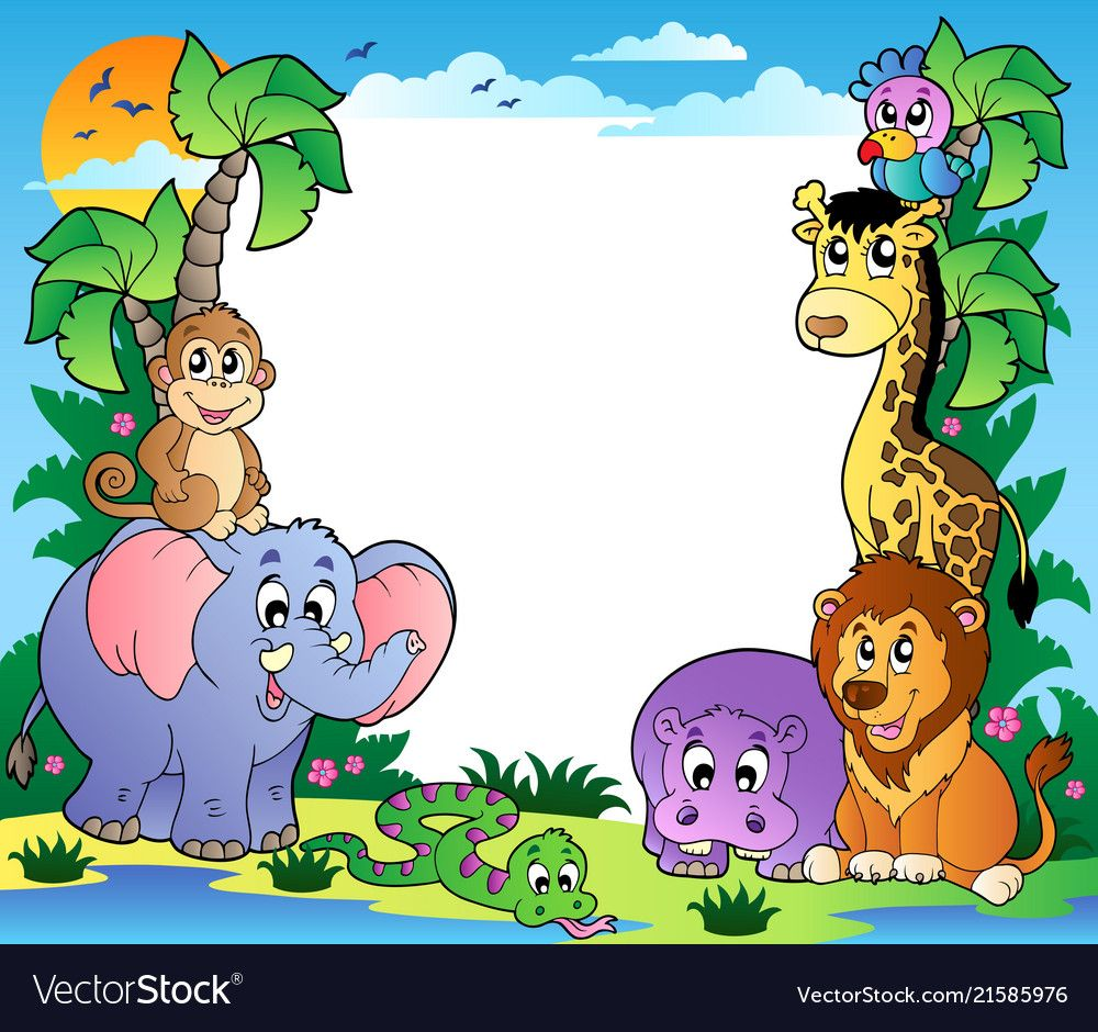 Frame With Tropical Animals 2 Vector Illustration Download A Free Preview Or High Quality Adobe Illustrat Cute Animals Images Animals Images Cartoons Vector