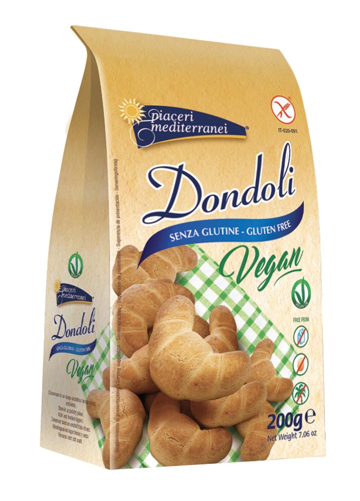 Dondoli I nuovi Dondoli sono stati realizzati con l'utilizzo d'ingredienti di alta qualità, solo di origine vegetale. Non contengono olio di palma e sono senza latte e lattosio.   www.piacerimediterranei.it/prodotti/biscotti-senza-glutine/cat-dondoli