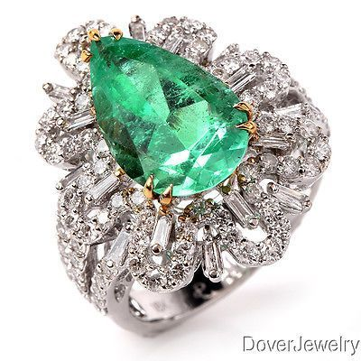 cool Estate Diamond 6.99ct Emerald 18K  Gold Floral Halo Cocktail Ring 8.3 Grams NR