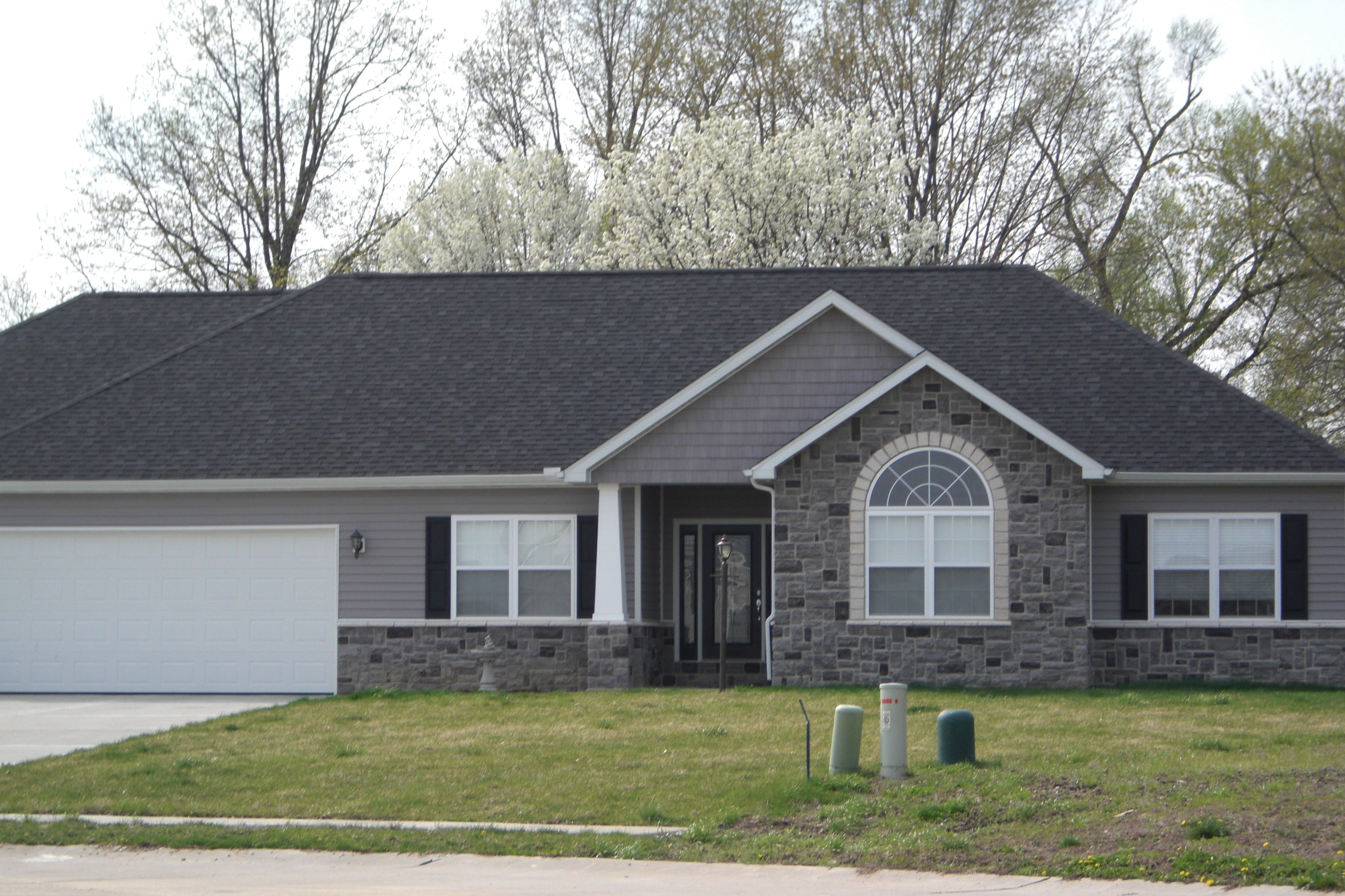 Gray stone white trim black shutters google search new Black brick homes