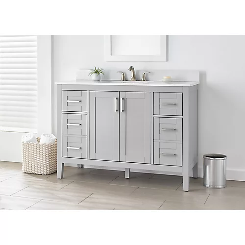 Ellia 48 Inch Vanity In Grey With White Carrera Top Single Bathroom Vanity Bathroom Vanity Base Bathroom Vanity Tops White vanity with gray top