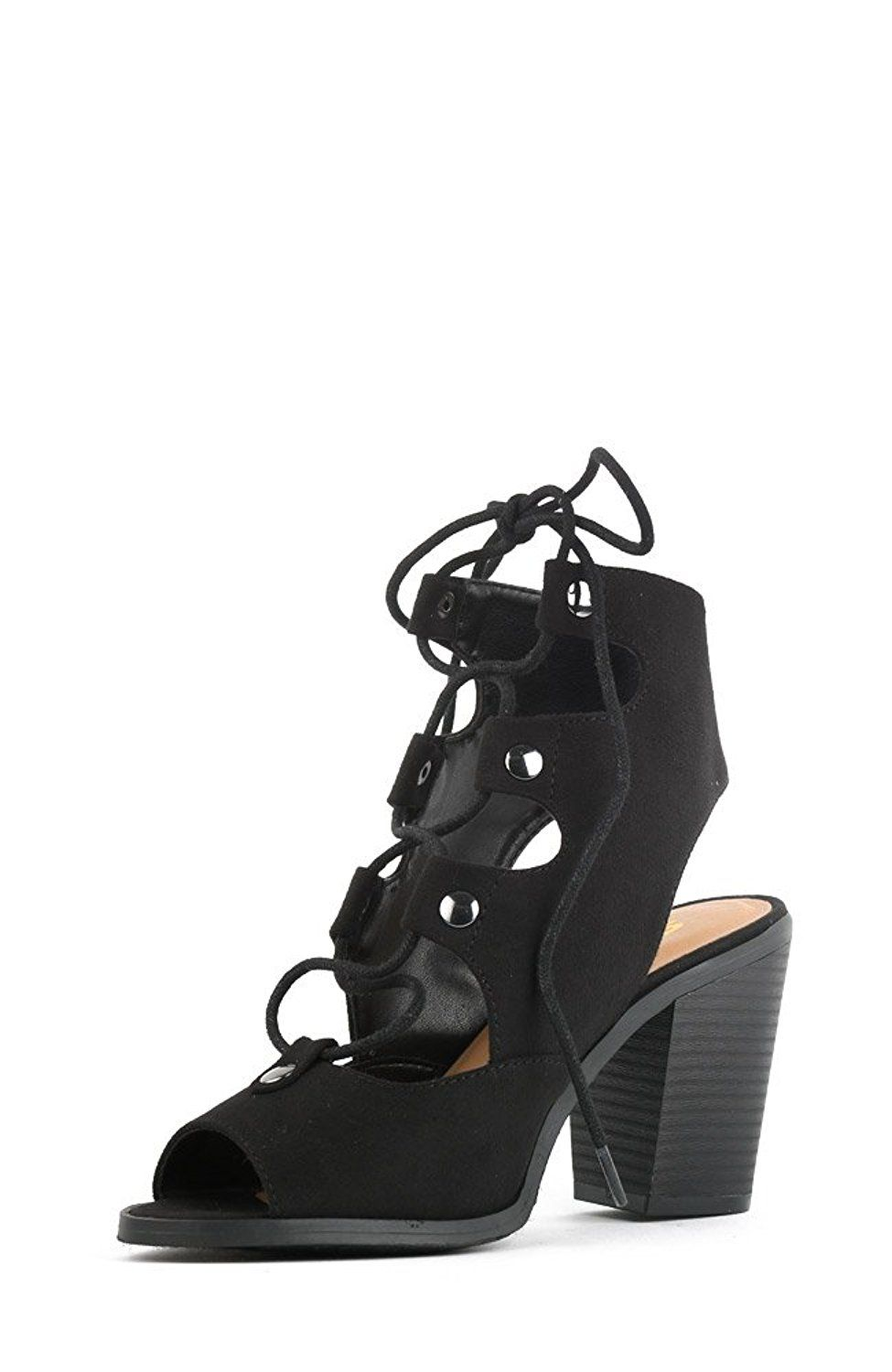 4a1b1715e9c Soda RACE Women s Stylish Lace Up Gladiator Cage Low Chunky Block Heel  Sandal - Black Imitation Suede   Review more details here   Gladiator  sandals
