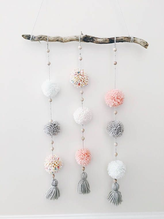 Pom Pom Wall Hanging, Wall Art, Boho Wall Hanging, Driftwood, Wall Decor, Pom Pom Garland, Yarn Pom
