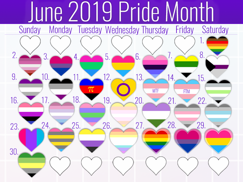 Pride Month Calendar 2019.A Pride Month Calendar Of 2019 I Made Feel Free To Share The Love