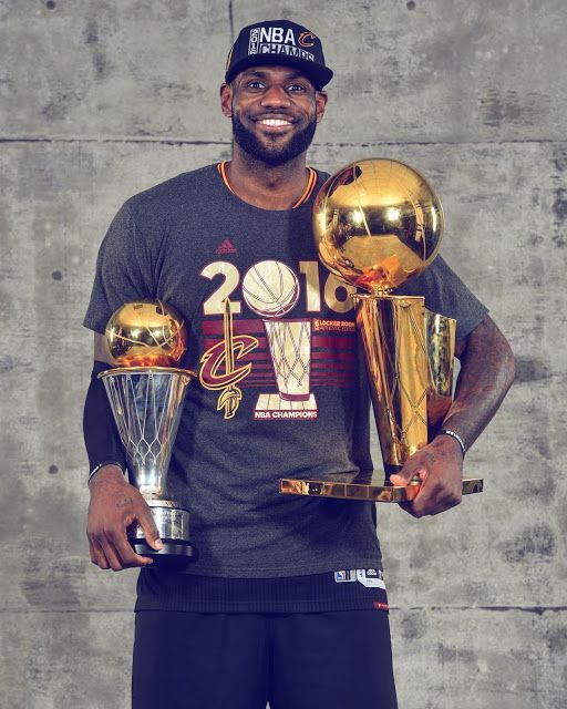 LeBron James With The NBA Championship Trophies Game 7 2016 Finals