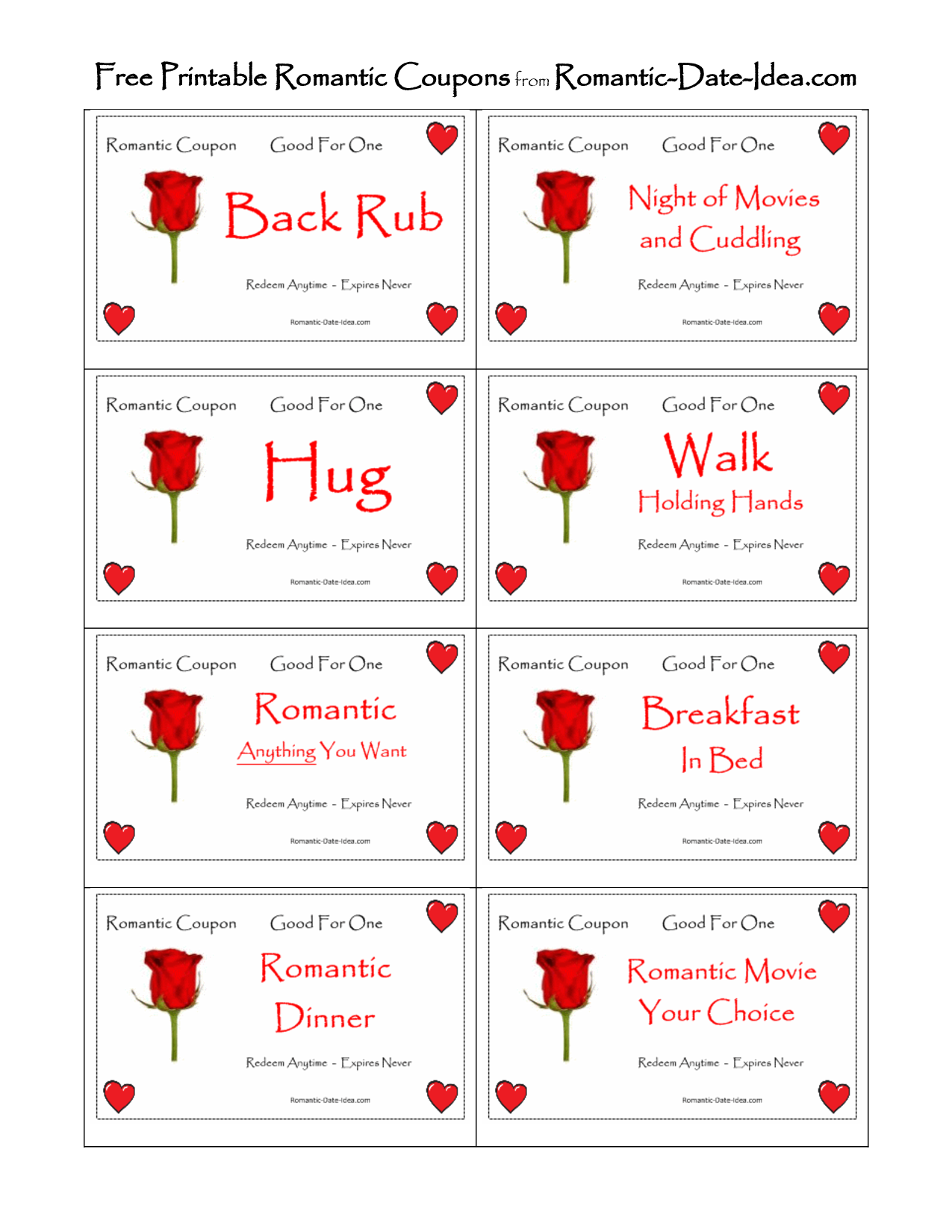 Romantic Love Coupon Printable
