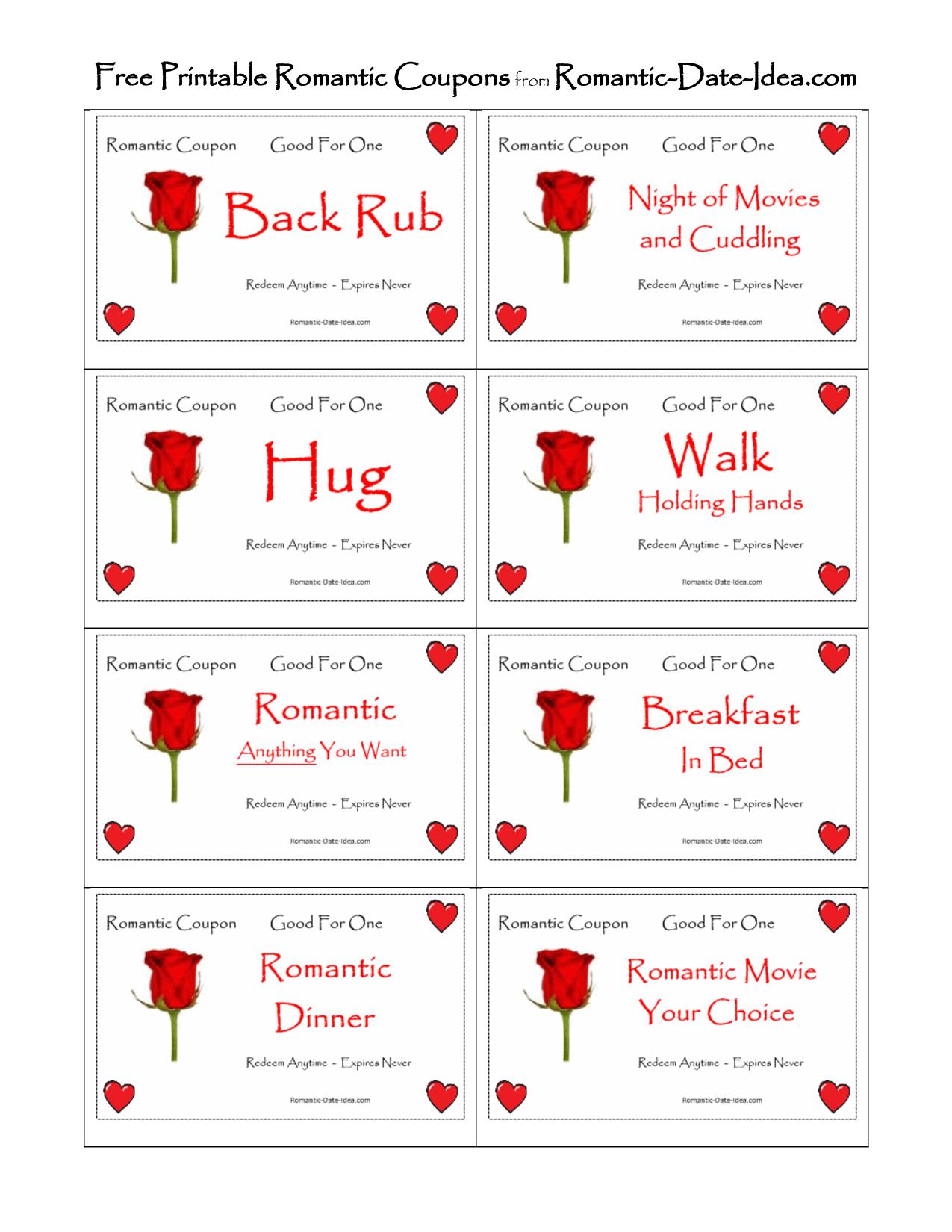 Romantic Love Coupon Printable