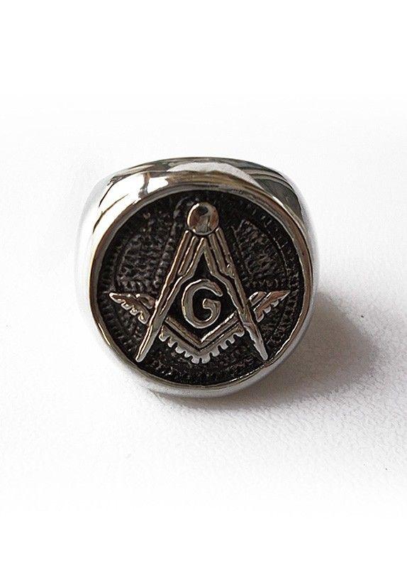 mens titanium steel ring with embossed freemason symbol