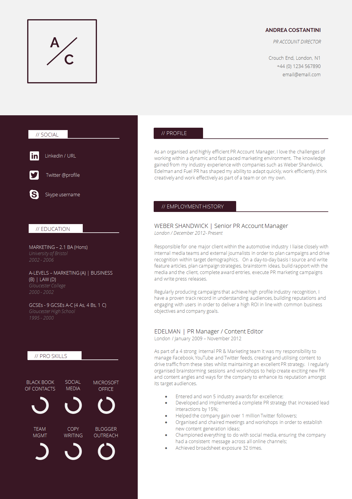 Slick professional two page cv template cv resume for Sales slick template