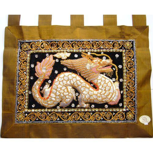 Exclusive Thai Decor Dragon On Green Thai Silk Kalaga