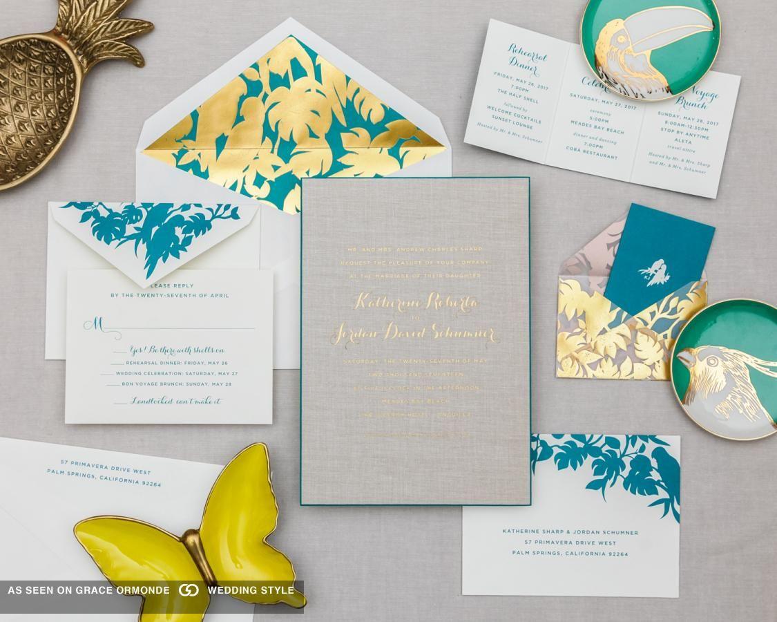 Palm Beach Inspired Wedding Invitations Suite | 2017 onwards wedding ...