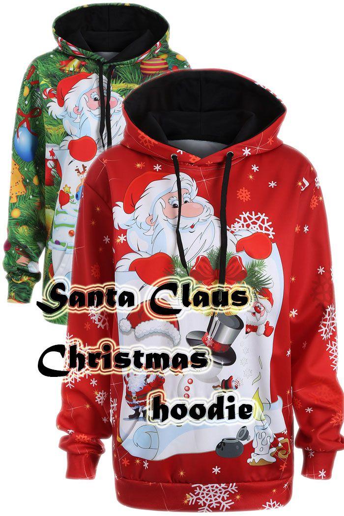 Plus Size Snowman Kangaroo Pocket Christmas Hoodie