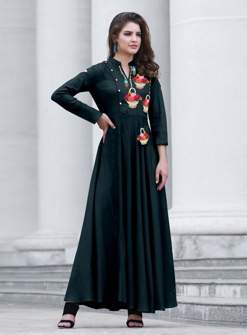 Shop teal cotton readymade long kurti online at best price