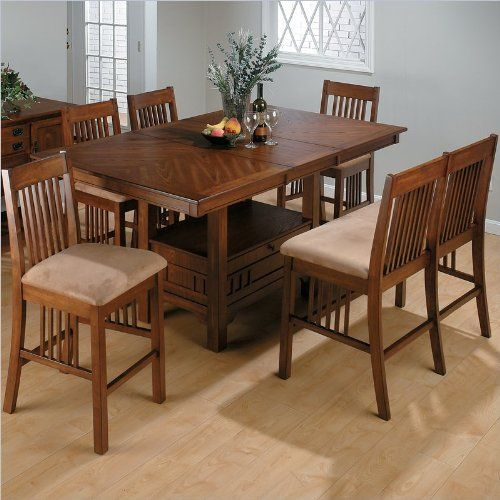 Jofran 7 Piece Mission Counter Height Dining Set In Saddle Brown