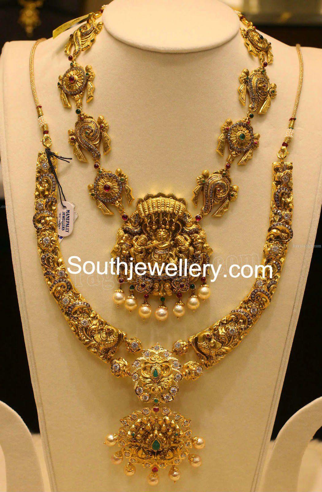 Simple nakshi temple necklace designs gold pinterest