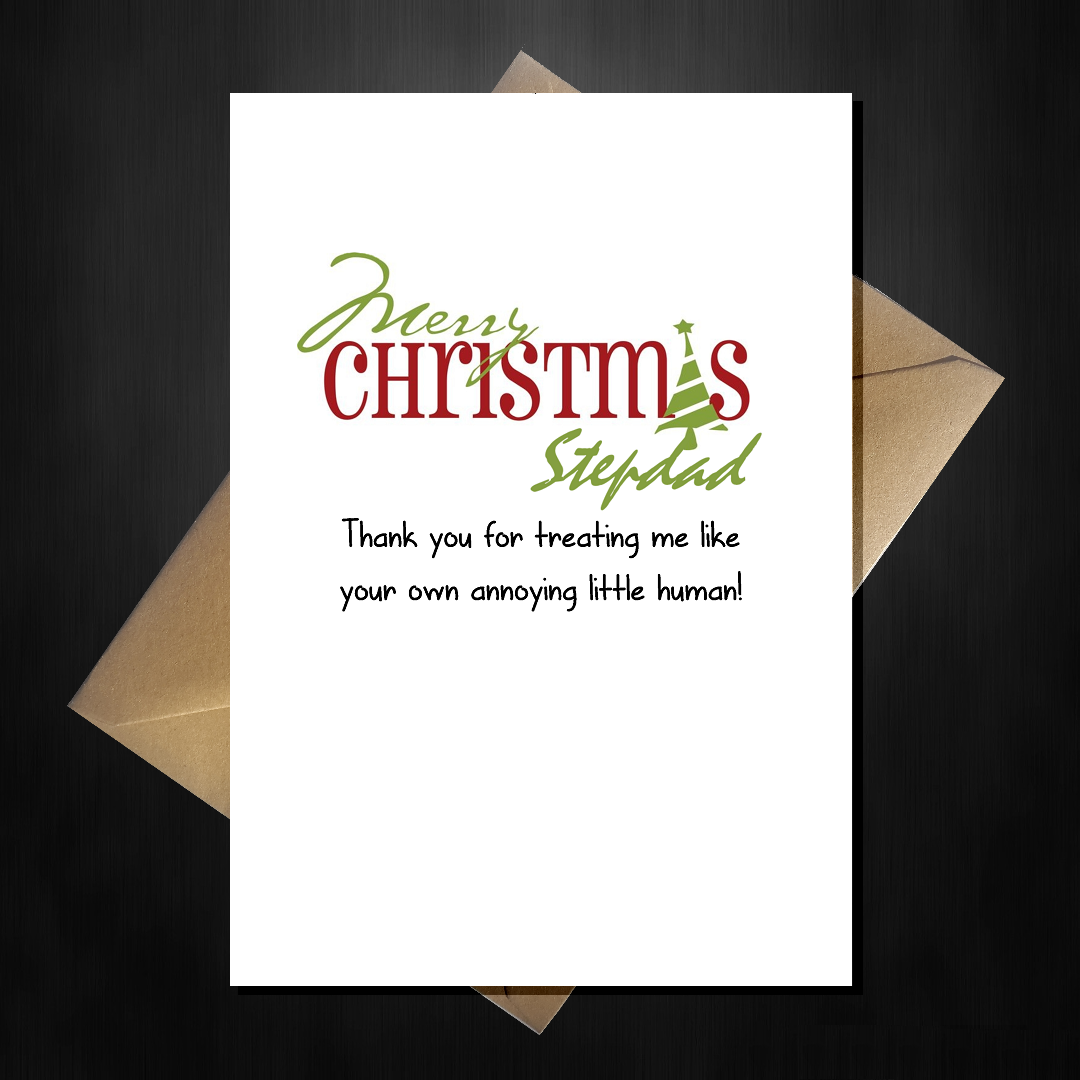 Funny Cute Christmas Card for your Stepdad Thank You