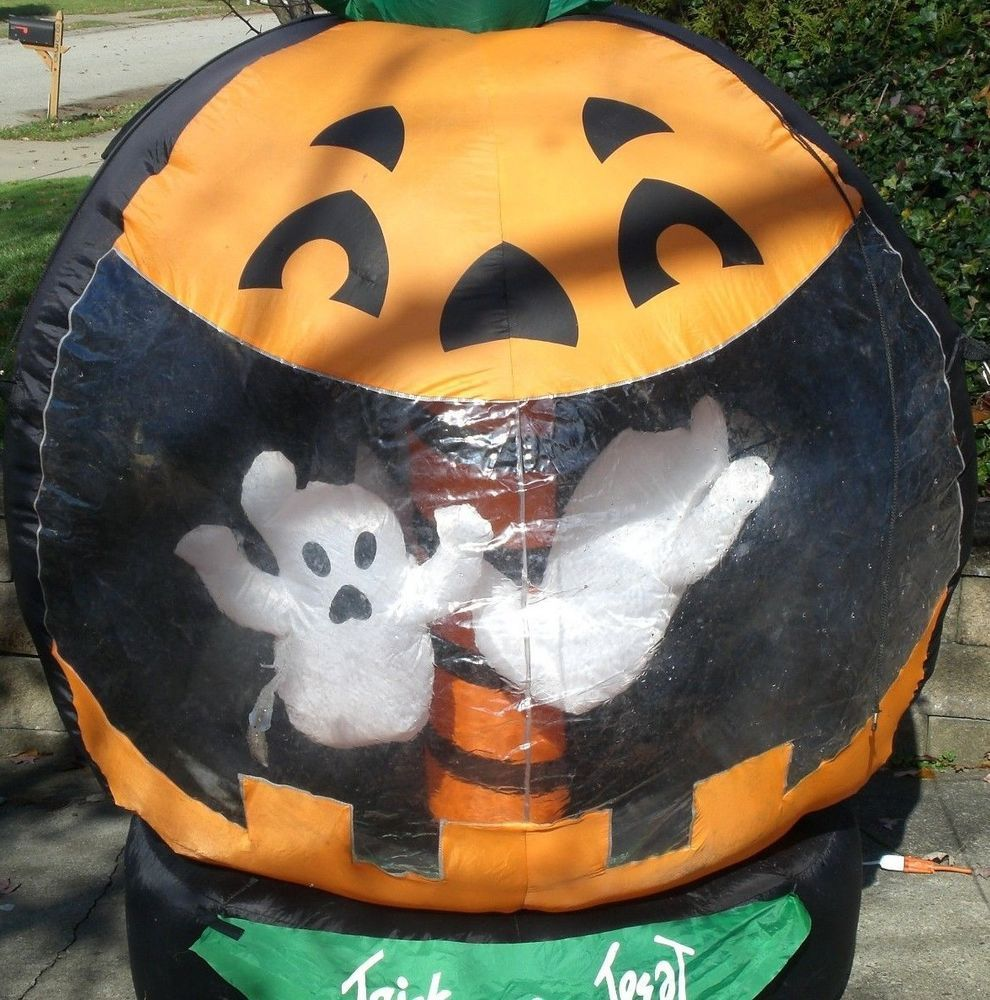 Halloween rotating ghost & pumpkin inflatable blow-up outdoor ...