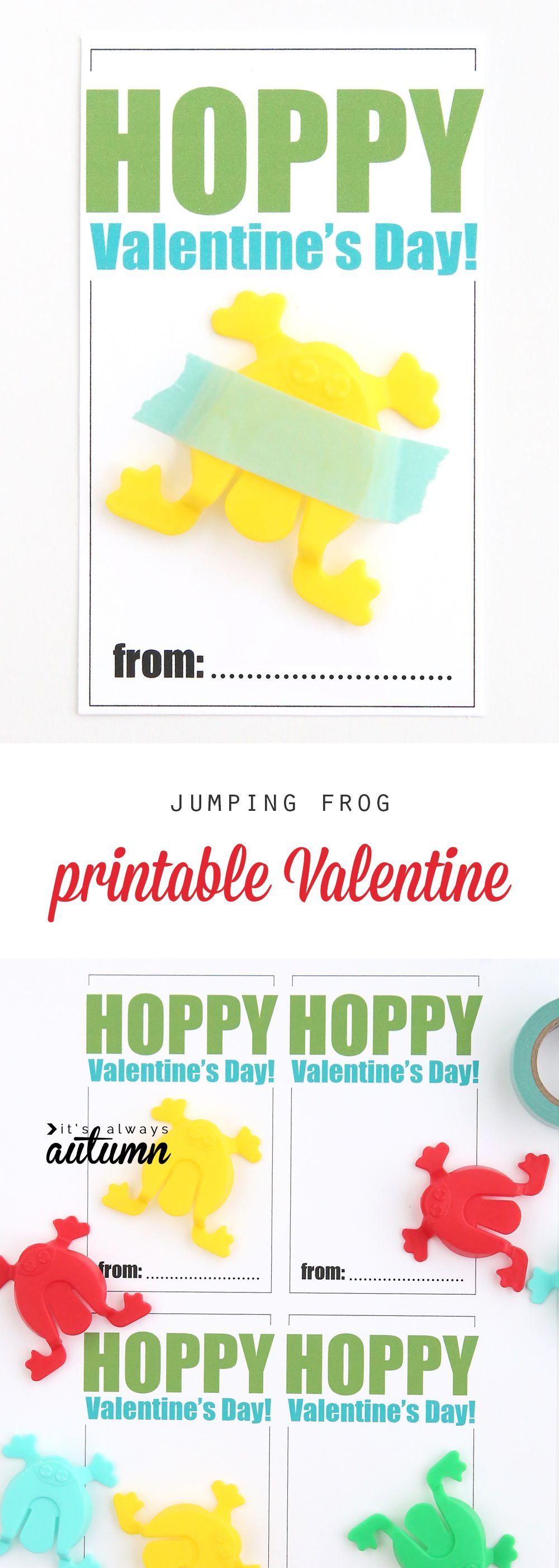 Cute Free Printable Valentineu0027s Day Card With Hopping Frog Toys. Great Non  Candy Valentine Idea