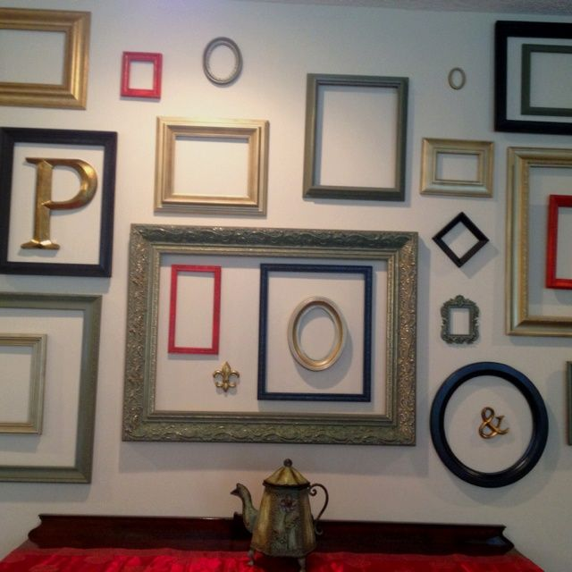 Mirrors and empty frames gallery wall hallway pinterest empty frames frame gallery and gallery wall