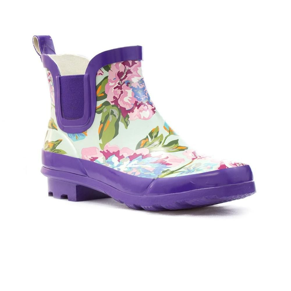 Cool Wellygogs - Womens Welligogs Floral Print Purple Ankle Welly