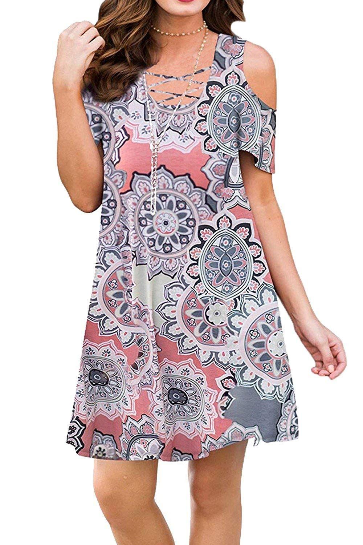 561f1e6823d BLUETIME Women Cold Shoulder Criss Cross Neckline Short Sleeve Casual Tunic  Top Dress